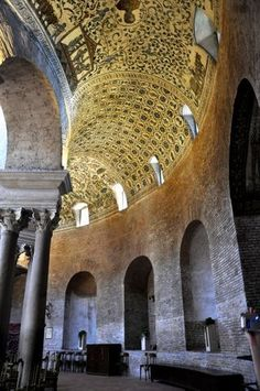 Italy Travel Inspiration - the ambulatory - interior The Mausoleum of Santa Costanza: Ancient Mosaics - Rome built by Constantine I - 4th century AD