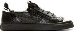 Giuseppe Zanotti Black & White Snakeskin Krudelia Sneakers
