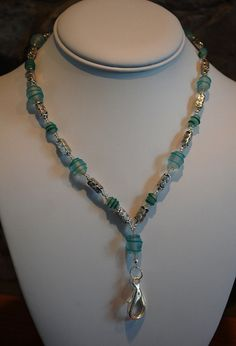 Swirled Teal and Silver Beaded Lanyard. $18.00, via Etsy.