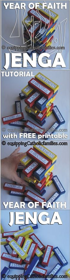 Equipping Catholic Families: Year of Faith JENGA! Another classic game converted 2 Catholic!   FREE PRINTABLE!    (for a limited time)   Have fun, learn Catechism!
