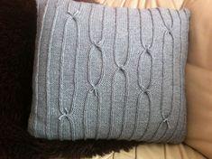 Gjør det selv, da vel! : Strikket pute. Gratis oppskrift. Knit Pillow, Knitted Pillows, Throw Pillows, Knitting, Interior, Diy, Crafts, Hobbies, Threading