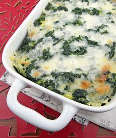 Spinach Cheese Casserole i think i'm going to try this with evaporated skim milk and cannellini bean puree instead of half and half then use fat free mozzarella to make it a healthier option:-)
