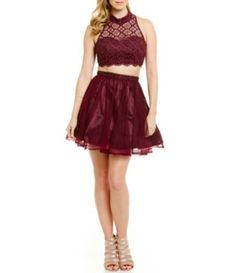 5266faa8a78 Sequin Hearts Lace Top Mock Neck Two-Piece Party Dress  Dillards Semi Formal  Dresses