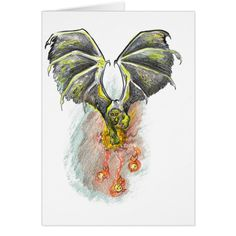 Winged Black Panther Fire Fish Fireball Cute Cool Card #cards #christmascard #holiday