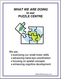 What We Are Doing Sign: Puzzle Centre - A list of puzzle center objectives (UK English). Signs for centres and learning . Learning Stories, Play Based Learning, Learning Through Play, Learning Centers, Early Learning, Learning Skills, Preschool Centers, Preschool Curriculum, Preschool Classroom