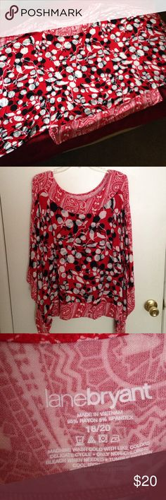 Lane Bryant butterfly blouse Lane Bryant brandNever worn but no tags. The sleeves are slit so it fits more like a sleeve less blouse. 95% rayon/5% spandex. Like new condition. Never worn. Lane Bryant Tops Blouses
