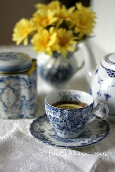 One of my favorite self-indulgences is to sit and enjoy a cup of hot tea, served in fine china.  {@$}