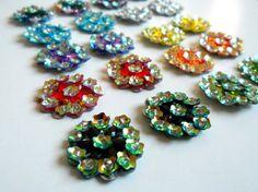20 Sequin Applique Flower Center.Multicolor for Handmade Fabric Flower