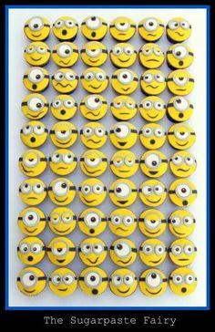 Minion cupcakes by The Sugarpaste Fairy Baking Cupcakes, Cupcake Cookies, Sugar Cookies, Minion Cookies, Minion Cupcakes, Despicable Me Party, Minion Party, Torta Minion, Deco Cupcake