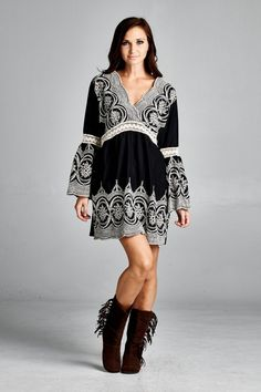 Boho Embroidered Bell Sleeve Dress - Black - Knitted Belle Boutique  - 1