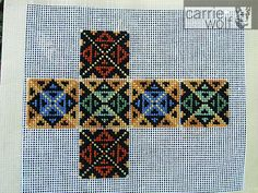 Needlepoint Pincushion Cube Design on Canvas