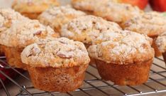 Apple Strudel Muffins Recipe - made these this afternoon, I made my own twist, I added cinnamon inside muffin & about of homemade apple sauce as well Apple Crumble Muffins, Peach Muffins, Apple Cinnamon Muffins, Muffin Recipes, Apple Recipes, Breakfast Recipes, Dessert Recipes, Cupcakes, Pate A Muffins