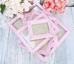 Baby Pink SHABBY CHIC Frames set of 5 Made to by HuckleberryVntg, $49.00