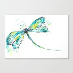 All the colors of a peacock feather are added to this watercolor dragonfly.