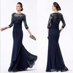 2016 Navy Blue Lace Appliques Mother's Dresses 3/4 Sleeves Long Mermaid Designer Chiffon Beaded Stunning Cheap Eevening Prom Party Dresses Online with $120.31/Piece on Babyonline's Store | DHgate.com