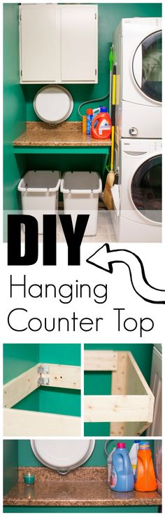 How to DIY a Hanging Counter Top to save space and making organizing easier. #SmellsClean