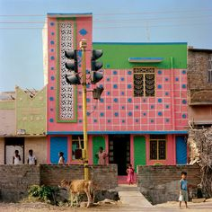 """urbandesigirl: """" darksilenceinsuburbia: """" Indian Houses inspired by Ettore Sottsass. Tirunamavalai, Tamil Nadu Photography by Vincent Leroux """" Indian Houses inspired by Ettore Sottsass """" Architecture Design, Indian Architecture, Memphis Design, Memphis Milano, Halls, Terrazo, Candy House, Art Deco, Indian Homes"""