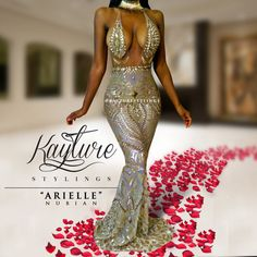 Custom ARIELLE NUBIAN prom pageant mermaid sequin GOLD sexy