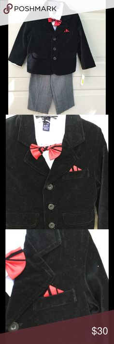 NWT Class Club 3T velvet jacket suit set NWT Class Club for Dillard's toddler suit set includes black velvet like jacket, white button down shirt, black and red bow tie, and herringbone elastic waist pants; adorable outfit would be perfect for Christmas photos; jacket has a faux pocket square that matches the bow tie Class Club Other