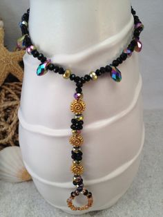 Barefoot Sandal - foot jewelry, anklet toe ring, Ultimate Beach Bling peacock crystal, gold beads, black crystal,