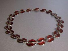 DAVID ANDERSEN Sterling Silver & Red Guilloche Enamel Necklace Leaves Norway  #DavidAndersen