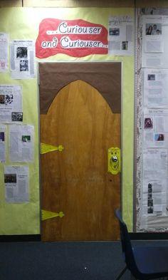 This Classroom Is The Doorway To Adventure!  Lots of different door decor. Narnia wardrobe, Harry Potter platform, Alice in wonderland