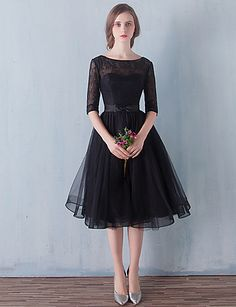 Cocktail Party / Prom Dress - Little Black Dress A-line Scoop Knee-length Tulle…