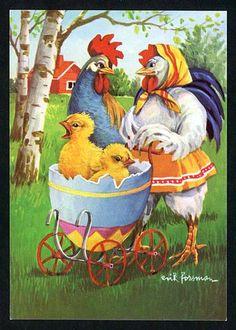 Glad Påsk Fancy Chickens, Chickens And Roosters, Easter Art, Easter Crafts, Vintage Easter, Vintage Holiday, Arte Do Galo, Chicken Art, Easter Holidays