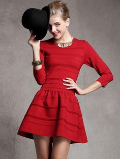 Red Long Sleeve Striped Ruffle Slim Dress $47.5