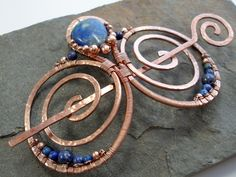 Lapis Embellished Double Spiral Hair Barrette by Abby Hook