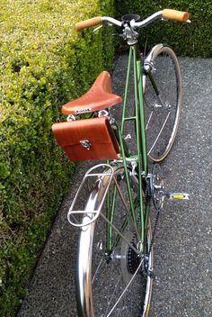 Green Mixte. Motobecane Mixte Bicycle 1969. Cork handle grips, Brooks Saddle, Velo Orange fenders and rack, Bici Couture Saddle Bag. Gold M...