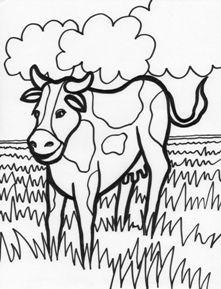 Planse de colorat animale domestice vaca Animals farm, Cow