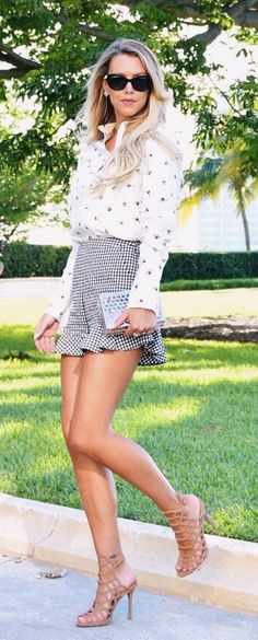 #summer #outfits  White Printed Blouse + Grey Peplum Skirt + Brown Sandals // Shop This Outfit In The Link