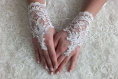 guanti matrimonio guanti da sposa, guanti di pizzo, bianco