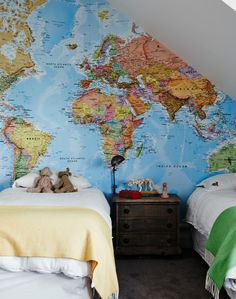 Inspire them to dream big with map of the world wallpaper - fun and educational