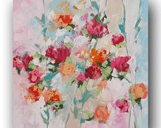 Original Floral Painting Abstract Art Impressionist Landscape Roses Red Pink Peach Flowers Surreal Acrylic Painting on Canvas Linda Monfort