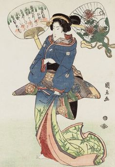 Beauty and fans.  Ukiyo-e woodblock print, 2nd quarter 19th century, Japan, by artist Utagawa Kuninao.