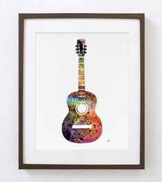 This is an Archival Print of my original watercolor painting Red Guitar with minimal digital art enhancement and editing. Signed on the front