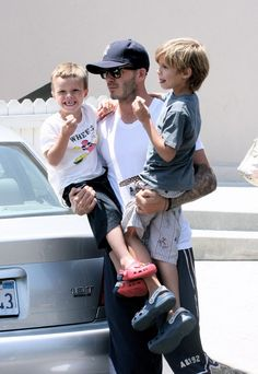 David Beckham and his sons.