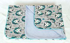 Minky Baby Blanket Lion gray turquoise  Nuva Handmade size