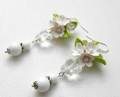 Flower earrings Dangle earrings Lilacs White by insoujewelry