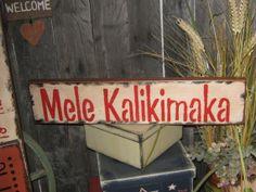 "Primitive Holiday Wood Sign Christmas in Hawaii ""  Mele Kalikimaka ""  Merry Christmas In Hawaiian Hand Painted Decoration Rustic  Housewares..."