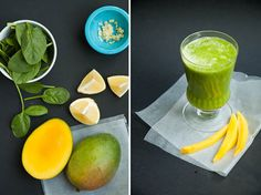 A lean green smoothie with arugula, mango, ginger, and lemon.