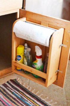 What a genius kitchen sink cabinet door organizer!