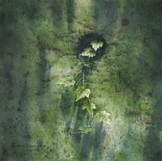 生生不息Green corner】 36x36cm Watercolor on paper 2002 by Chen-Wen Cheng, from Taiwan R.O.C