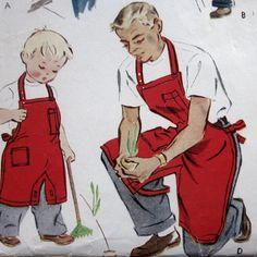 Vintage Apron Pattern for men/boys Vintage Apron Pattern, Aprons Vintage, Vintage Patterns, Sewing Patterns, Apron Patterns, Sewing Crafts, Sewing Projects, Childrens Aprons, Cool Aprons