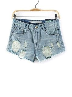 Womens Jean Shorts - Four Pocket / Distressed / Cut Off
