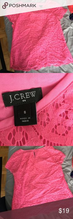 Hot Pink JCrew Lace Shirt Hot pink JCrew shirt with lace overlay and scallop details at edges. Super comfortable and in great condition with no stains or signs of wear. Machine washable item. J. Crew Tops Tees - Short Sleeve
