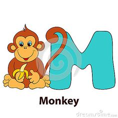 Vector Illustration about Illustrated alphabet letter M and monkey.