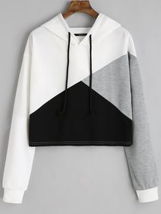 Contrast Drawstring Drop Shoulder Hoodie WHITE: Sweatshirts M Girls Fashion Clothes, Teen Fashion Outfits, Outfits For Teens, Girl Fashion, Emo Fashion, Teenage Clothing, Tomboy Outfits, Lolita Fashion, Clothing Ideas